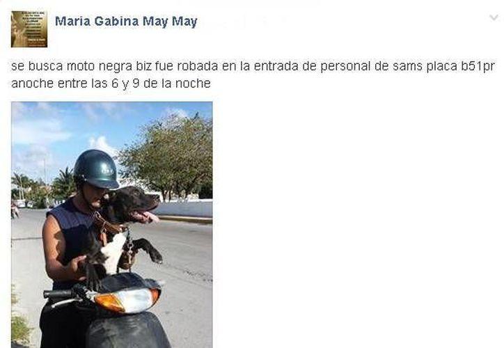 María logró recuperar su moto gracias a que pidió ayuda de la comunidad a través de Facebook.  (Redacción/Facebook)