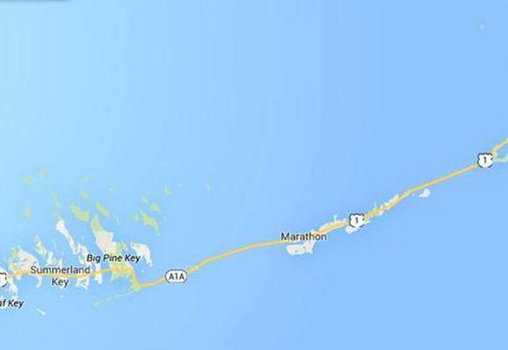 Mapa de los Cayos de Florida, en donde este martes tres personas mayores de 60 años murieron mientras buceaban. (GoogleMaps)