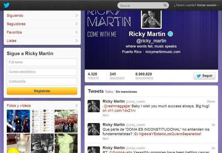 Estrellas como Ricky Martin se dieron vuelo tuiteando y compartiendo su felicidad en las redes sociales por la 'caída' de la Propuesta 8 de California y la DOMA. (@ricky_martin)