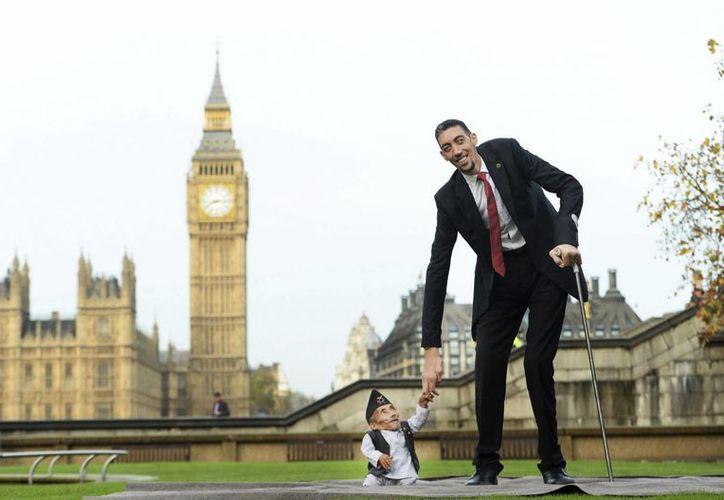 El nepalí Chandra Bahadur Dangi (izq) y el turco Sultan Kosen posan en una sesión fotográfica para el Guinness World Records en Londres, Inglaterra el jueves 13 de noviembre de 2014. (EFE)