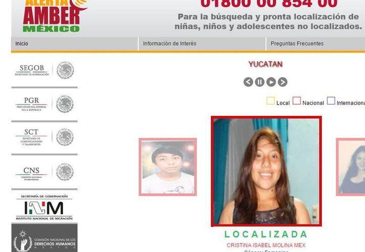 PGR proyecta cambios en la alerta Amber. La imagen es de la página web del programa, utilizada solo como ilustración. (SIPSE)