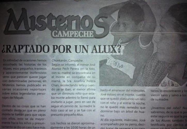 """Recorte periodístico que fue publicado en la revista """"Misterios"""" sobre una de las desapariciones en Yucatán. (Jorge Moreno/SIPSE)"""