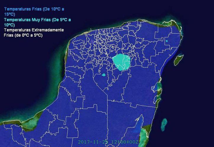 El aire frío aún se encuentra sobre el Golfo de México, pero llegará a Yucatán en las próximas horas. (Imágenes: Meteorología Yucatán)