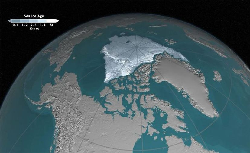 El derretimiento de los casquetes polares se debe al calentamiento de la tierra por gases de efecto invernadero. (Imagen: Nasa)
