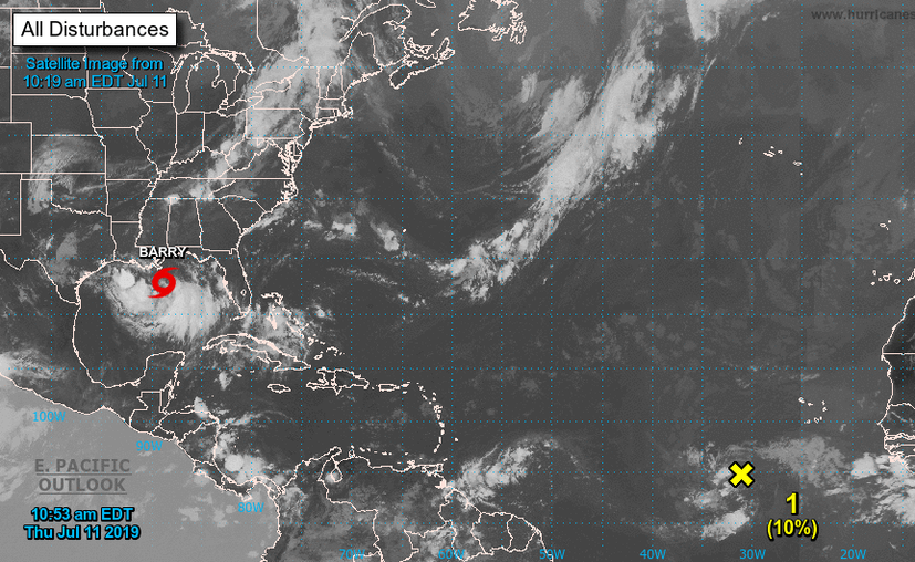 """Barry"" ya es tormenta tropical.  (nhc.noaa.gov)"