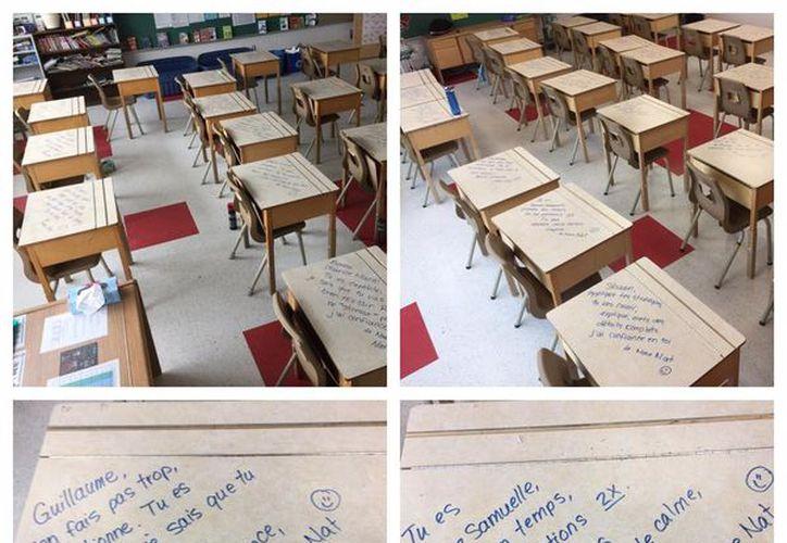 Las mesas de los alumnos estaban llenas de mensajes motivacionales. (Foto: Facebook)