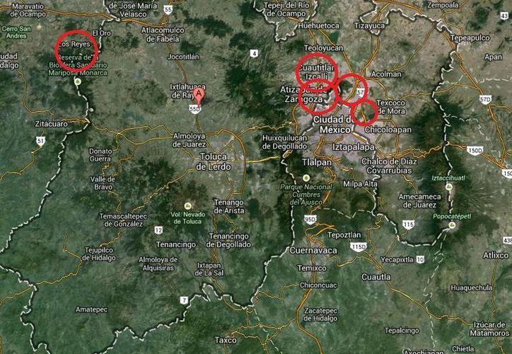 En este mapa se muestra la zona de los homicidios registrados en Los Reyes, Tlalnepantla, Cuautitlán Izcalli, Ecatepec y Neza. (Google Maps)