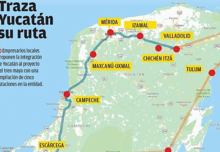 Por medio de un video de un aproximado de 3 minutos, se muestra como seria el recorrido del nuevo tren maya.(Foto: Milenio Novedades)