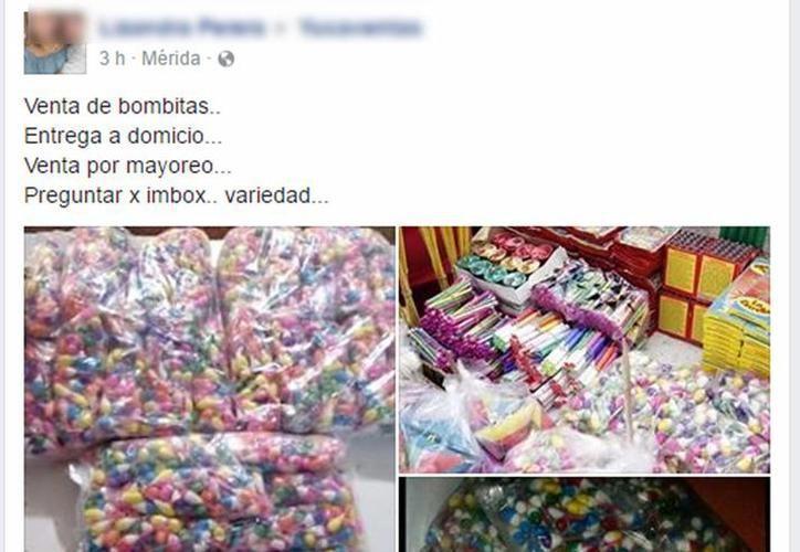 En la página Mercado Libre Yucatán, en Facebook, ofrecen artefactos pirotécnicos y la entrega se hace en puntos acordados por las partes. (SIPSE)