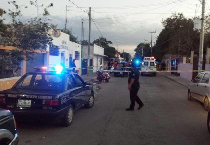 Imagen del lugar donde sucedió la tragedia después de un pleito entre dos hermanos en Motul. (Milenio Novedades)