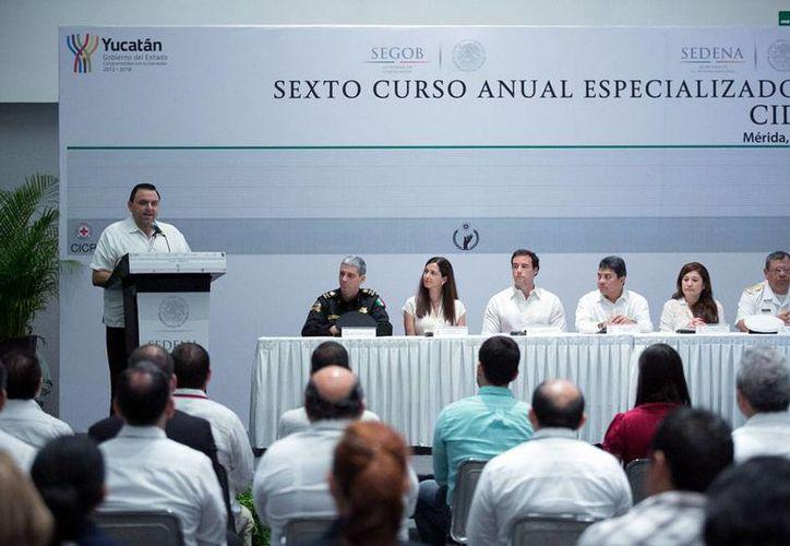 Aspecto de la inauguración del VI Curso Anual Especializado en Derecho Internacional Humanitario, en Mérida. (Cortesía)