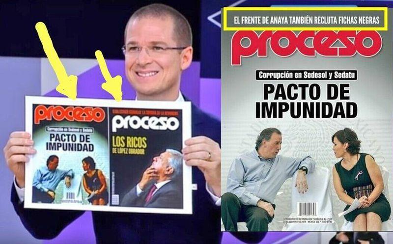 Durante el debate del pasado 20 de mayo, el candidato presentó un portada editada de la revista. (Proceso)
