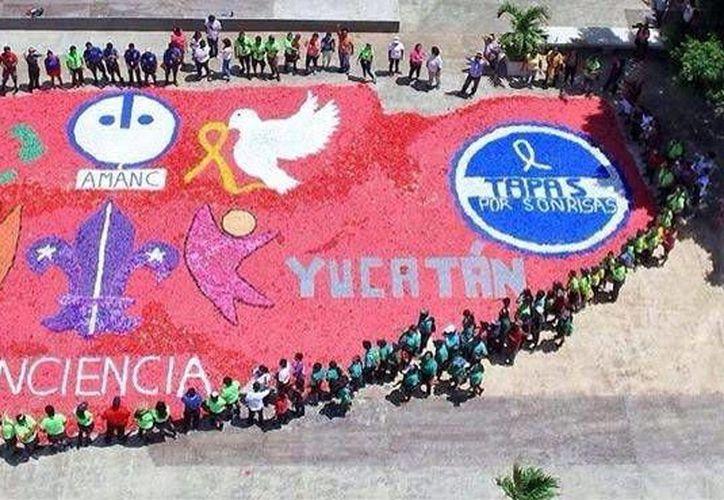 La meta para este año es superar las 19 toneladas que se recolectaron en 2016. Imagen de contexto de la última edición del Tapatón, en Yucatán. (Milenio Novedades)