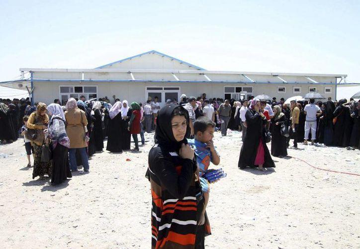 Varios iraquíes, que huyeron de la violencia en Mosul, hacen cola a su llegada en un punto de vigilancia en Erbil, Kurdistán, al norte de Irak. (EFE/Archivo)