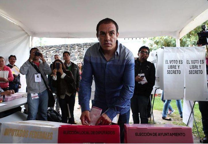 Después de ejercer su voto, Blanco retornó a la casa de campaña en donde se mantendrá a la espera de que den a conocer los resultados de estas elecciones 2015(@CuauhtemocBPSD)