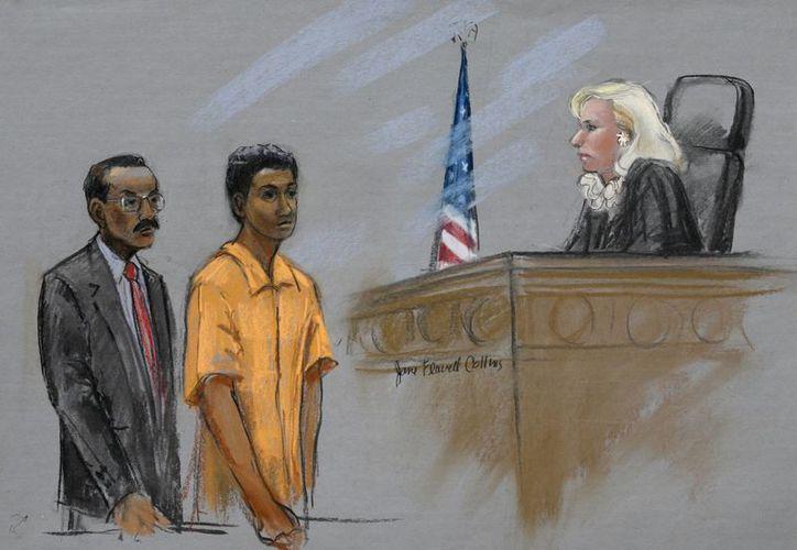 Bosquejo que muestra al acusado Robel Phillipos (c) junto a su abogado Derege Demissie y a la  Magistrado Federal Marianne Bowler en el Tribunal del Distrito de Boston. (Agencias)