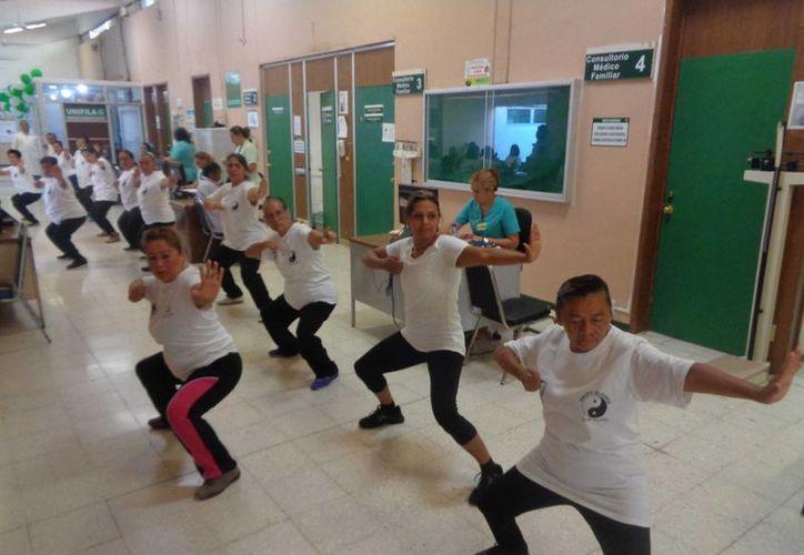 Un grupo de adultos mayores dio una demostración de Tai Chi en el IMSS de Chetumal. (Ángel Castilla/SIPSE)