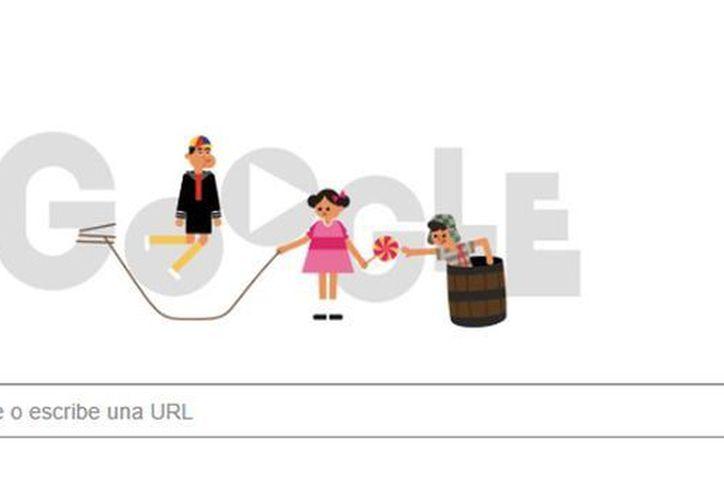 En la animación se ve a Kiko saltando la cuerda que sostiene La Chilindrina, mientras que El Chavo aparece en su inseparable barril. (Captura de pantalla)