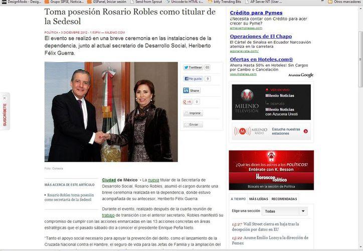 Rosario Robles destacó la labor de apoyo de su antecesor, Heriberto Félix, durante el proceso de transición. (Captura de pantalla de Milenio)