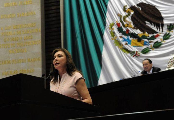 La diputada Beatriz Zavala Peniche durante la presentación de la reserva. (SIPSE)