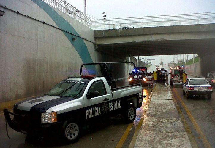 La patrulla se dirigía hacia Bonfil. (Joshimar Mendoza/SIPSE)