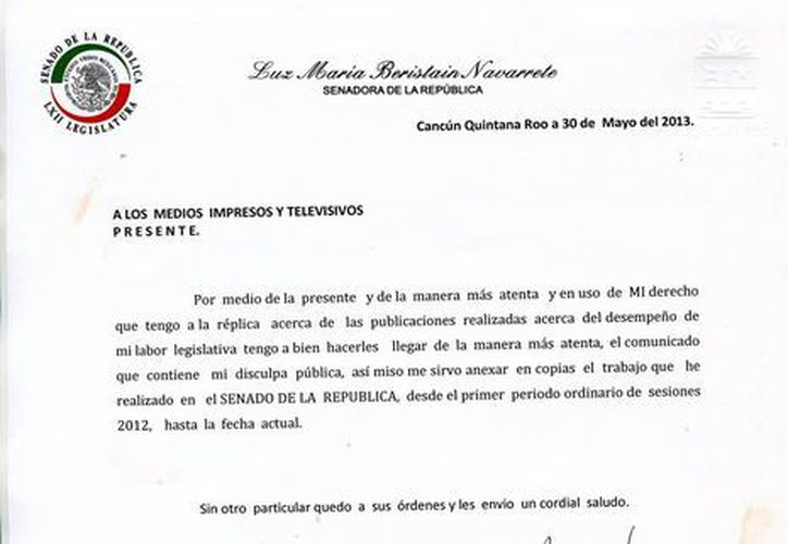 Uno de los documentos que la senadora Luz María Beristáin dejó en la Redacción de Novedades de Quintana Roo. (SIPSE)