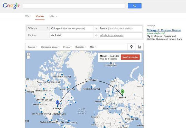 Búsqueda de vuelos eligiendo punto de partida y de destino directamente a través del mapa. (google.com/flight)