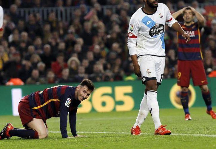 El Barcelona no pudo derrotar en el Camp Nou al Deportivo La Coruña con el que terminó empatando a dos goles. Fue su último partido previo al Mundial de Clubes de Japón.- (EFE)
