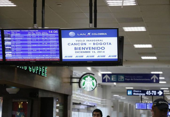 La terminal 2 del aeropuerto recibió el pasado lunes el primer vuelo de la aerolínea sudamericana LAN Grupo Latam. (Israel Leal/SIPSE)