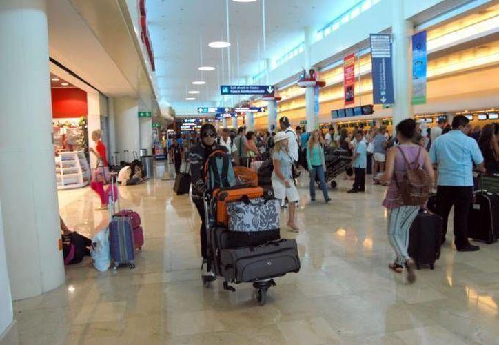 La unidad canina anti narcóticos detectó al ahora detenido con cocaína en la maleta en el aeropuerto de Cancún. (Redacción/SIPSE)