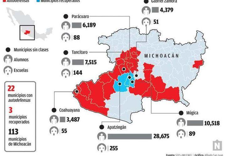 La creciente violencia de las últimas semanas en Michoacán ha obligado al cierre de escuelas y negocios en varias regiones del estado,  mientras surgen nuevos datos sobre el poder del crimen organizado en la entidad.(Milenio)