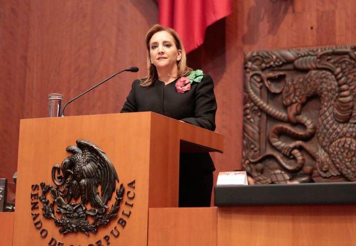 La canciller Claudia Ruíz Massieu presentó su comparescencia ante el pleno del Senado de la República. (Notimex)
