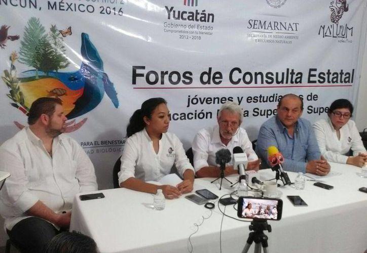 Imagen de la conferencia de prensa acerca de los Foros de Consulta Estatal, rumbo a la COP13. (José Acosta/Milenio Novedades)