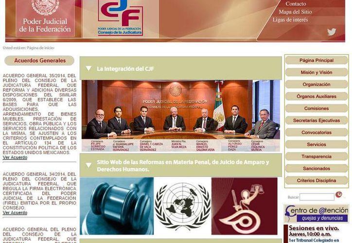 Captura de pantalla del sitio web del Consejo de la Judicatura Federal, órgano que determinó la suspensión de los funcionarios. (www.cjf.gob.mx/)
