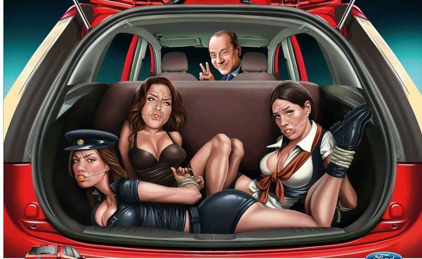 En uno de ellos aparece el exprimer ministro italiano Silvio Berlusconi con tres mujeres maniatadas en el baúl de un automóvil.(forbes.com)