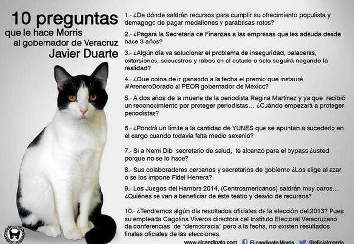 Las diez preguntas del Candigato Morris a Javier Duarte. (Tomado del Facebook de Candigato Morris)