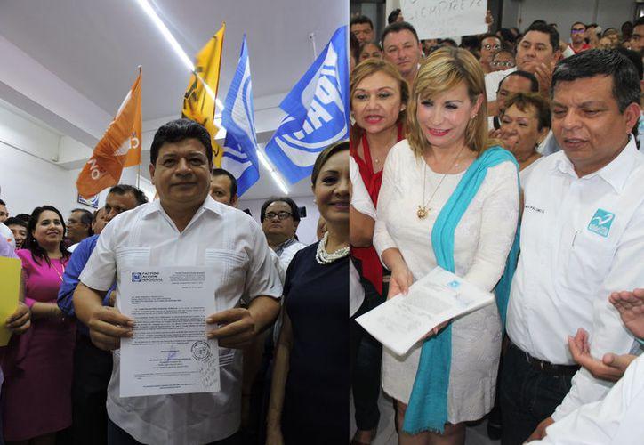 Luis Torres Llanes por la Coalición Por México al Frente y Susana Hurtado por la Colación por México, se registraron acompañados de cientos de simpatizantes. (Joel Zamora/SIPSE)