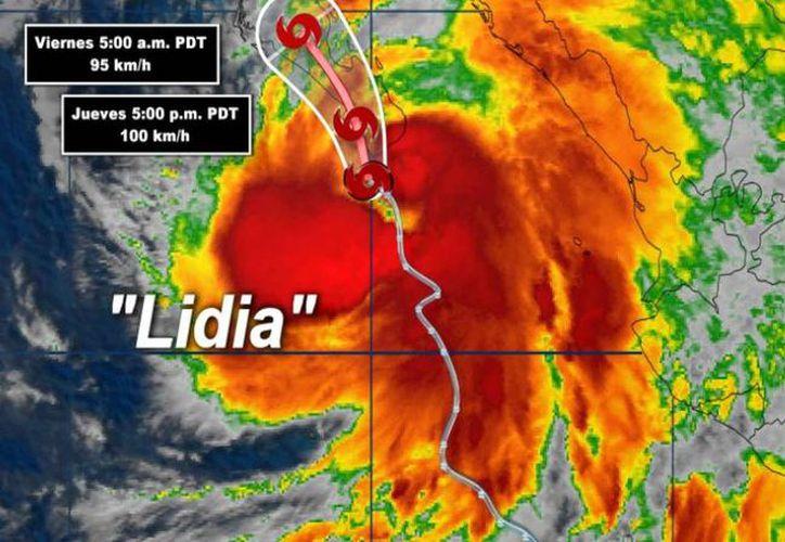 La tormenta tropical Lidia se ubica a 145 kilómetros al sur-sureste de Cabo San Lucas. (Conagua)