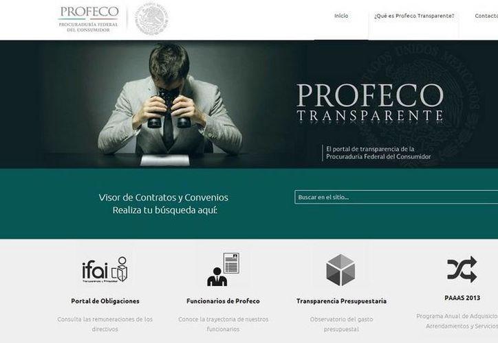 """El portal, denominado """"Profeco Transparente"""", ofrece una navegación fácil y ágil a los usuarios. (captura de pantalla)"""