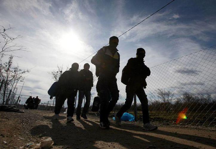 Un grupo de refugiados camina hacia la frontera entre Macedonia y Serbia desde el centro de alojamiento temporal para migrantes de la localidad macedonia de Tabanovce, el 5 de febrero de 2016. (AP)