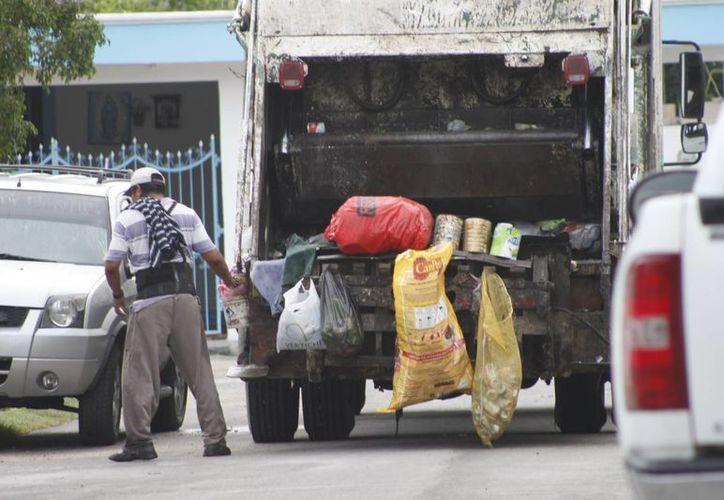 Recolectores de basura iniciaron sus recorridos desde muy temprano. (Harold Alcocer/SIPSE)
