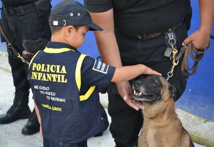 Durante su recorrido por las instalaciones policíacas, Jonas conoció a los perros Brandy y Jaquee. (Archivo/SIPSE)