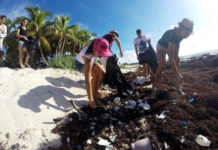 Durante la jornada de limpieza se retiraron 380 kilogramos de residuos de las costas de Xcacel-Xcacelito. (Cortesía)