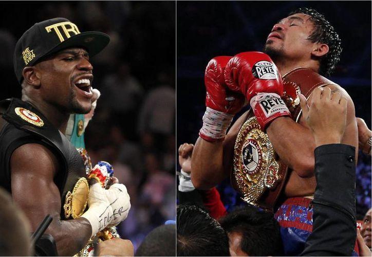 Se presume que, gane quien gane la pelea, el norteamericano Floyd Mayweather Jr. (i) se llevará a sus bolsillos unos 180 mdd, y Manny Pacquiao alrededor de 100.  (latinopost.com/Foto de archivo)
