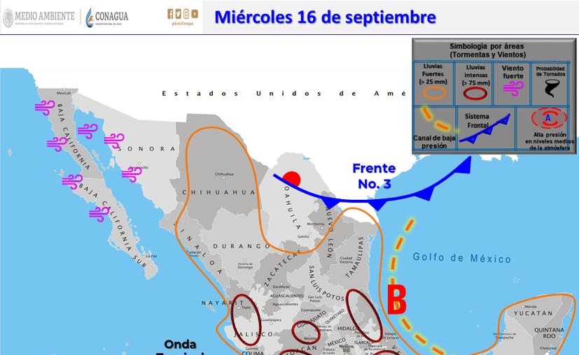 Clima Cancún Quintana Roo 16 de septiembre de 2020 (Conagua)