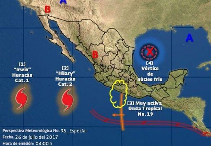 El huracán Hilary, de categoría 2 en la escala Saffir-Simpson, continuará su desplazamiento hacia el oeste-noroeste a 19 kilómetros. (Excélsior).
