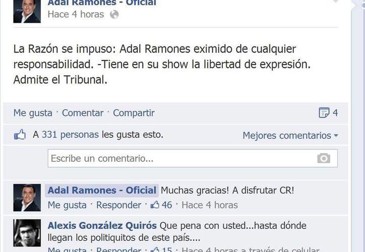 Adal Ramones celebró en Facebook la resolución a su favor. (Facebook oficial)