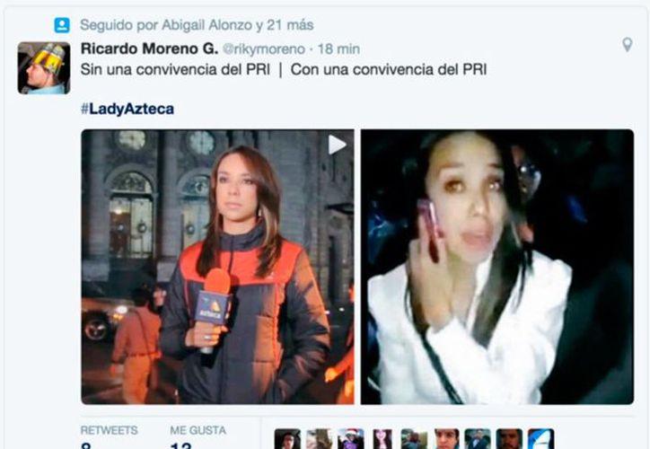 Selene Flores, reportera de TV Azteca, fue bautizada como <i>Lady Azteca</i> luego de que fue exhibida en <i>YouTube</i> en un clip donde se niega a hacerse la prueba del alcoholímetro. (Twitter: @rikymoreno)