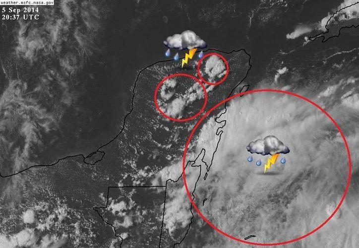 Aumenta la actividad de tormentas sobre Yucatán y Quintana Roo. (@climaYucatan)