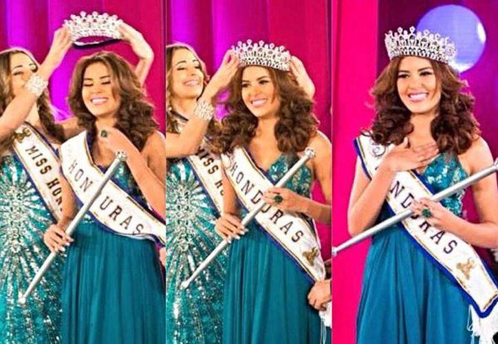 María José Alvarado, Miss Honduras 2014, desapareció a principios de mes, en un balneario de su país; la policía anunció que encontraron el cuerpo sin vida de la reina de belleza. La imagen es una fotocomposición de tres aspectos de su coronación, en abril pasado. (Facebook/María José Alvarado)